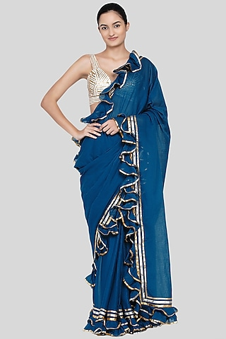 Cobalt Blue Embroidered Ruffled Saree Set by Gulabo By Abu Sandeep