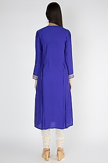 Cobalt Blue Embroidered Kurta by Gulabo By Abu Sandeep