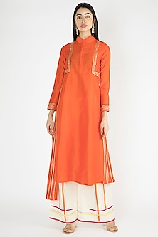 Orange Godart Pleated Kurta by Gulabo By Abu Sandeep