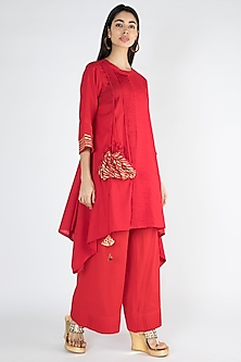 Bright Red Gota Embellished Tunic by Gulabo By Abu Sandeep
