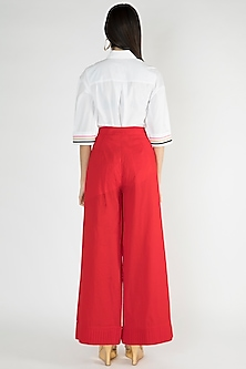 Bright Red Woven Palazzo Pants by Gulabo By Abu Sandeep