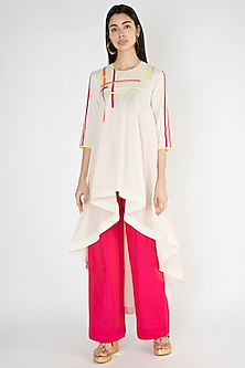Off White Kora Cotton Tunic by Gulabo By Abu Sandeep