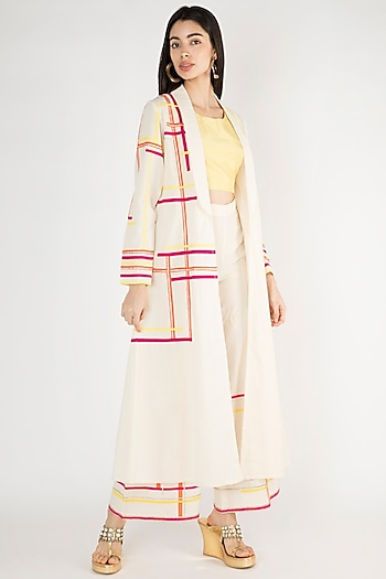 Off White Front Open Coat by Gulabo By Abu Sandeep