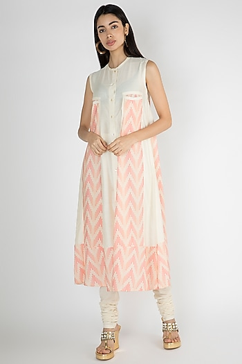 Off White Embellished Printed Tunic by Gulabo By Abu Sandeep