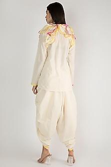Off White Kora Cotton Dhoti Pants by Gulabo By Abu Sandeep