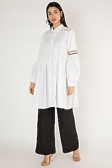 White Woven Cotton Shirt Dress by Gulabo By Abu Sandeep