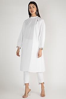 White A-Line Gathered Tunic by Gulabo By Abu Sandeep