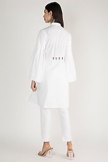 White Chinese Collared Pleated Tunic by Gulabo By Abu Sandeep