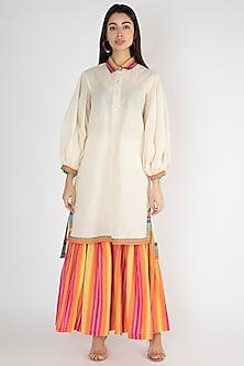 Off White Hexagon Printed Shirt Dress by Gulabo By Abu Sandeep