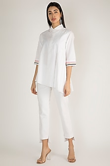 White Collared Pleated Shirt by Gulabo By Abu Sandeep