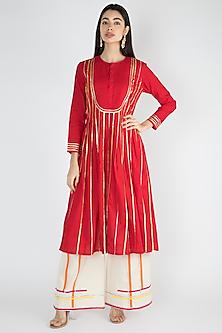 Red Gota Embroidered Kurta by Gulabo By Abu Sandeep