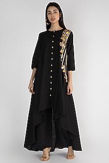 Black Embroidered Asymmetrical Tunic by Gulabo By Abu Sandeep