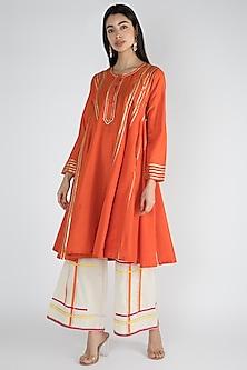 Bright Orange Silk Embroidered Kurta by Gulabo By Abu Sandeep-EDITOR'S PICK