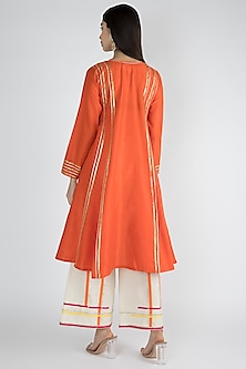 Bright Orange Silk Embroidered Kurta by Gulabo By Abu Sandeep