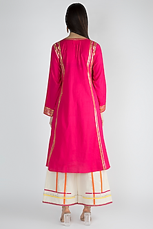 Fuchsia Cotton Embroidered Kurta by Gulabo By Abu Sandeep