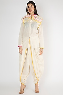 Off White Detailed Open Shirt by Gulabo By Abu Sandeep