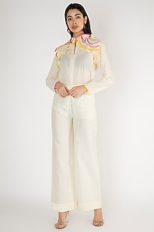 Off White Pleated Detailed Palazzo Pants by Gulabo By Abu Sandeep