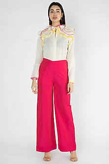 Fuchsia Cotton Detailed Palazzo Pants by Gulabo By Abu Sandeep
