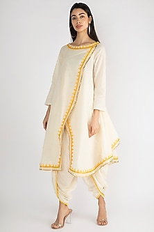 Off White Embroidered Overlay Tunic by Gulabo By Abu Sandeep