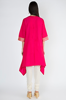 Fuchsia Cotton Pintuck Tunic by Gulabo By Abu Sandeep