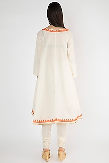Off White Embroidered Overlap Tunic by Gulabo By Abu Sandeep