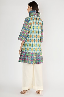 Multicolored Printed Tunic With Shakespeare Collar by Gulabo By Abu Sandeep