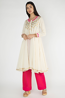 Off White Gota Work Kurta by Gulabo By Abu Sandeep
