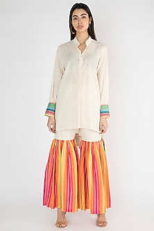 Off White Printed High-Low Shirt by Gulabo By Abu Sandeep
