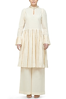 Off White Pleated Tunic by Gulabo By Abu Sandeep