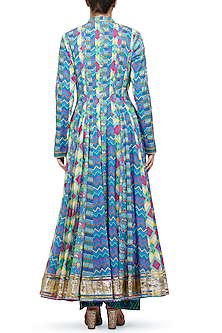 Blue Geometric Printed Anarkali by Gulabo By Abu Sandeep