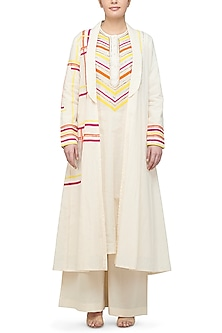 Off White Coat With Striped Detailing by Gulabo By Abu Sandeep