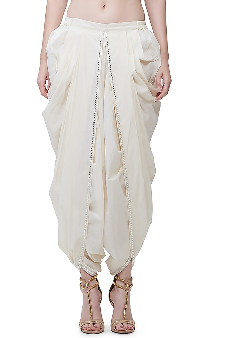 Off White Mirrors Embroidered Pants by Gulabo by Abu Sandeep