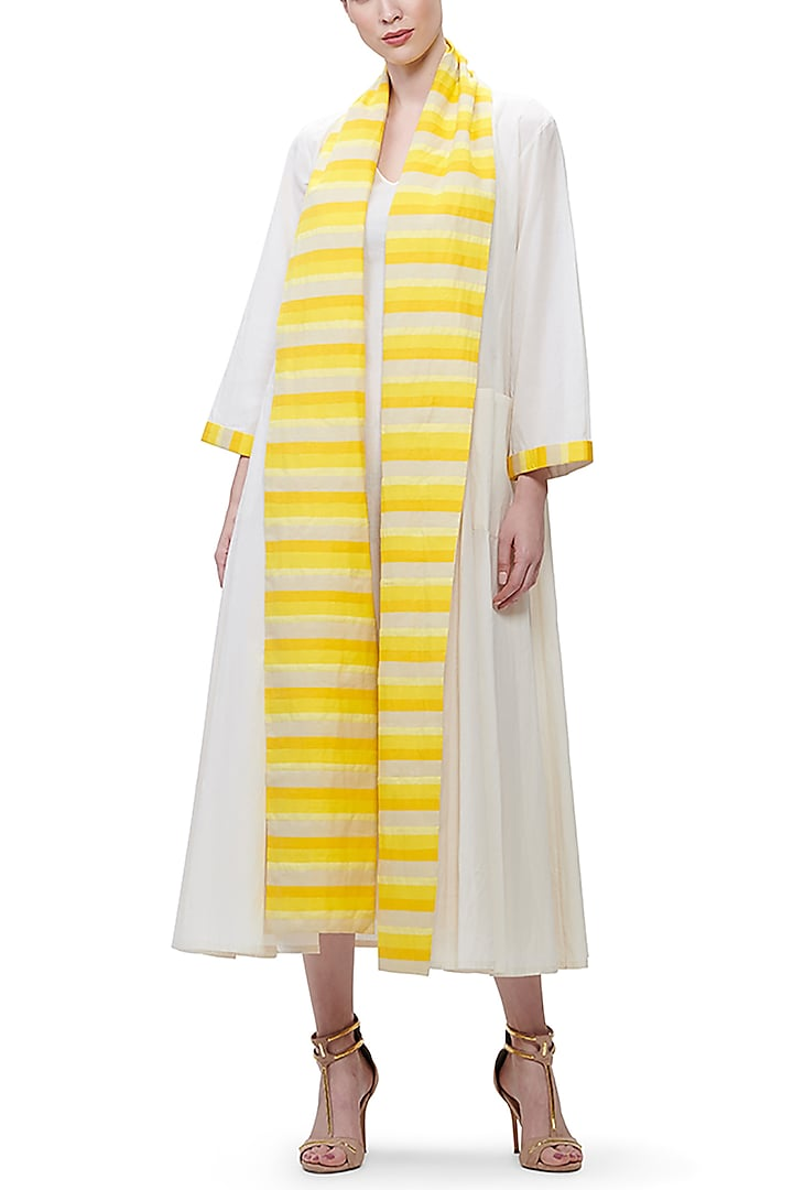 Off White Appliques Coat by Gulabo by Abu Sandeep