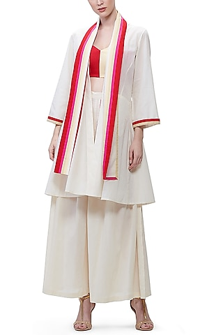 Off White Coat With Color Blocking by Gulabo by Abu Sandeep