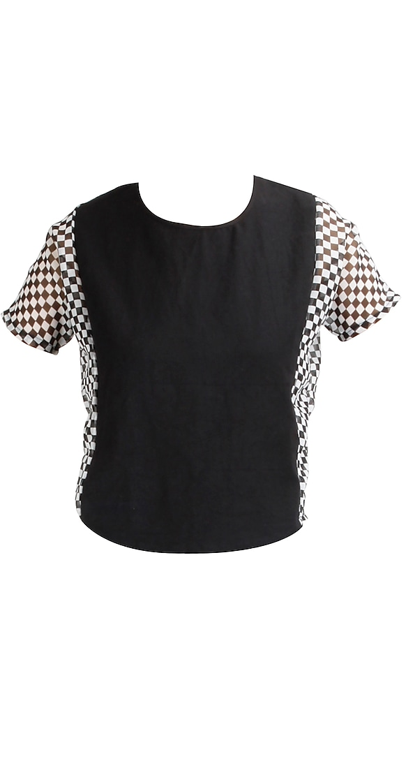 Black checkered top by T-Republic