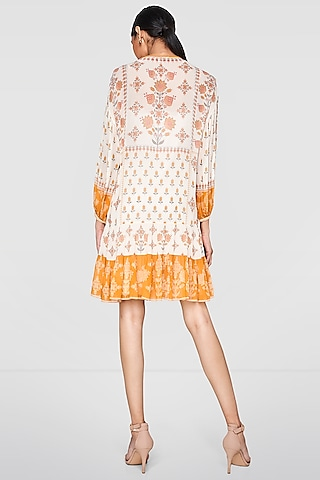 Cream Printed Ruffled Dress With Slip by Anita Dongre