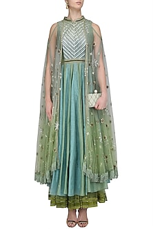 Jade Green and Powder Blue Two Tone Attached Wings Anarkali Set by Shashank Arya