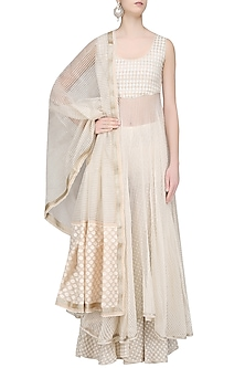 Ivory Chanderi Brocade Kurta and Sharara Pants Set by Shashank Arya