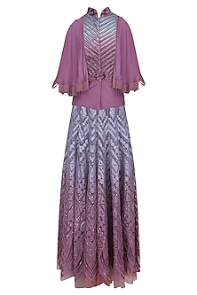 Blue and Mauve Ombre Skirt and Textured Cape Shirt Set by Shashank Arya
