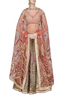 Peach and Gold Tissue, Dabka and Gota Patti Embroidered Lehenga Set by Shashank Arya