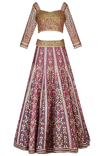 Lilac Embroidered Lehenga Set by Shashank Arya