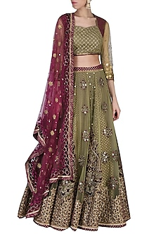 Olive Green Lehenga Set by Shashank Arya