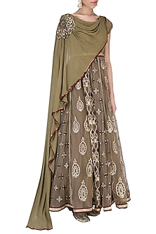 Olive Green Anarkali Set by Shashank Arya