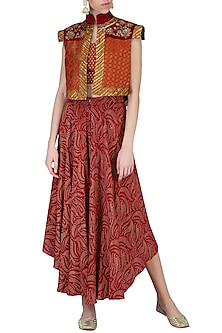 Rust Embroidered Bustier with Pants by Shashank Arya