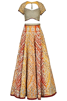 Orange Embroidered Lehenga Set by Shashank Arya