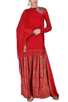 Red Embroidered Kurta with Pants by Shashank Arya