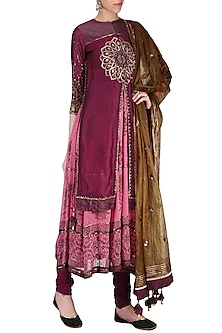 Wine Embroidered Anarkali Set by Shashank Arya