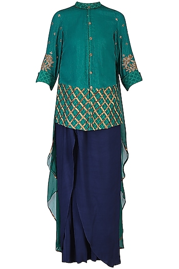 Green Embroidered Shirt with Pants by Shashank Arya