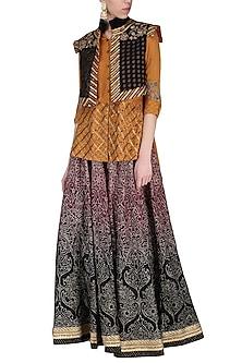 Black embroidered lehenga skirt with shirt by SHASHANK ARYA