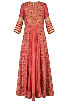 Coral embroidered anarkali set by SHASHANK ARYA